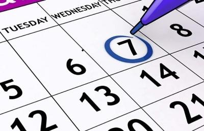 Календарь - по теме сроков выплаты по больничному листу (10 дней)